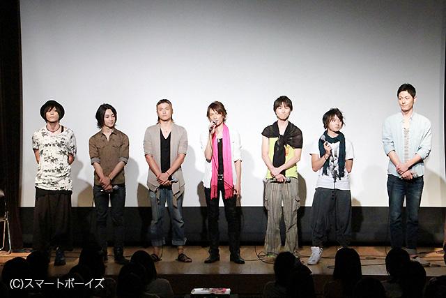 左から玉城裕規、三上俊、渡辺大輔、KENN、杉浦功兼、植田圭輔、成松慶彦