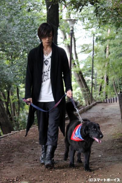 黒い大型犬が2頭!?(笑) 長身の加藤さんと歩いている姿が絵になるパーシー君も、元・保護犬。今は後輩保護犬たちのお世話を手伝う、頼れるお兄ちゃんなのだそう。