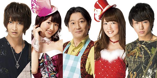左から佐々木喜英さん、戸松遥さん、駒田一さん、八坂沙織さん、矢崎広さん