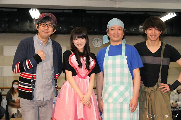 (写真左より)演出の中島淳彦さん、八坂沙織さん、駒田一さん、矢崎広さん