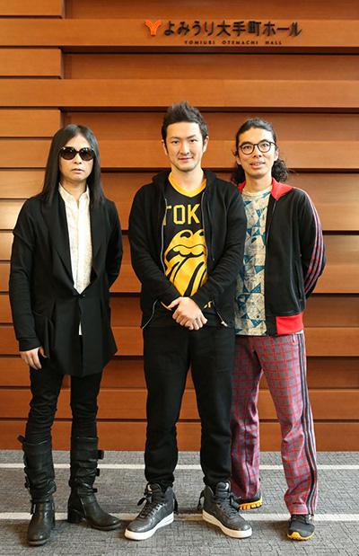 (左から)辻仁成さん、中村獅童さん、片桐仁さん(ラーメンズ)