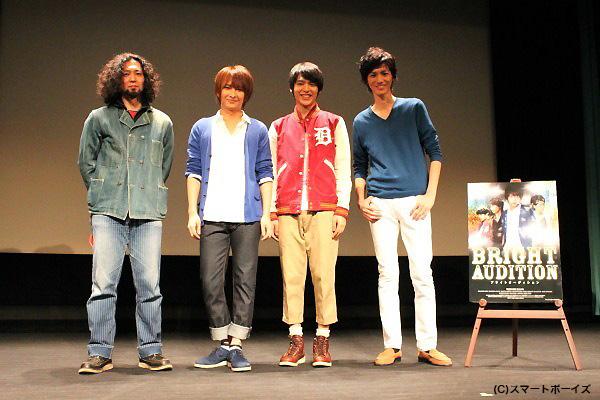 (写真左より)遊佐和寿監督、佐々木喜英さん、阿久津愼太郎さん、根岸拓哉さん