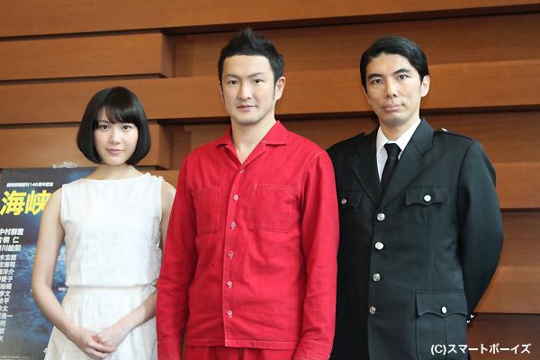 (写真左より)村川絵梨さん、中村獅童さん、片桐仁さん
