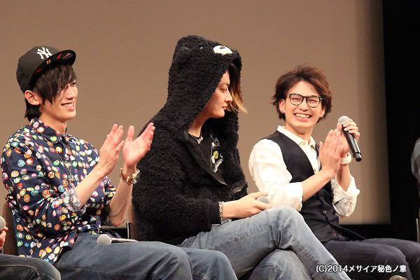 """中村さんの""""クマさんフード""""パーカーに、客席から「かわいい~」の声が!"""