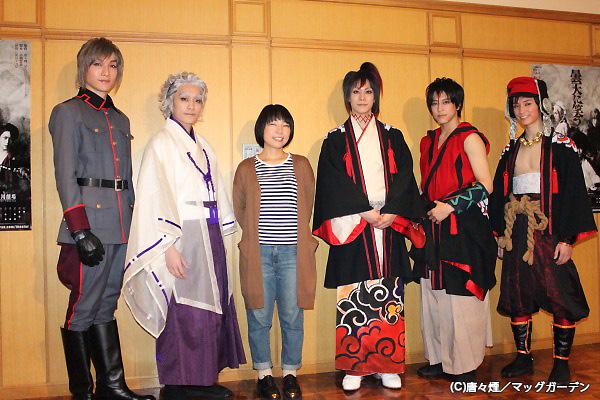 (写真左より)細貝圭、平間壮一、菜月チョビ(演出)、玉城裕規、佐野岳、百瀬朔