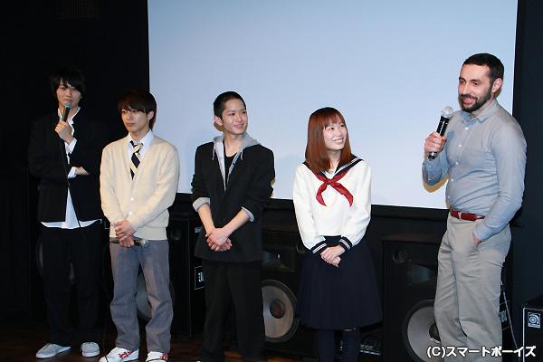 (左より)太田基裕さん、米原幸佑さん、千大佑さん、愛川こずえさん、ギヨーム・トーブロン監督