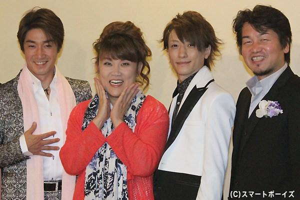 (写真左より)津田英佑さん、山田邦子さん、鈴木拡樹さん、水木英昭さん