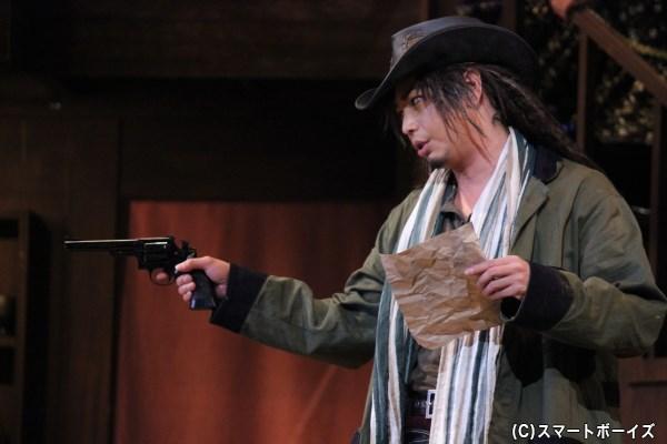 バウンティーハンターのザッパ(大口兼悟さん)は小道具の手配書を本物と勘違い