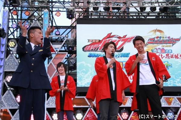 竹内さんと稲葉さんの小競り合いにサイレン音のモノマネをしながら柳沢さんが登場。この時点で、竹内さん笑っています