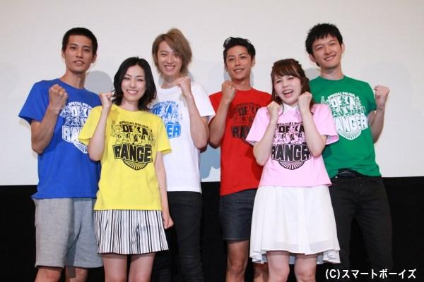 (左前列より)木下あゆ美さん、菊地美香さん (左後列より)林剛史さん、吉田友一さん、さいねい龍二さん、伊藤陽佑さん