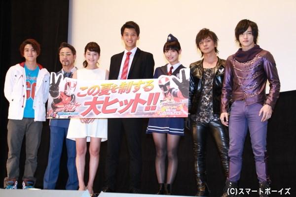 (左より)稲葉友さん、クリス・ペプラーさん、筧美和子さん、竹内涼真さん、内田理央さん、松岡充さん、上遠野太洸さん