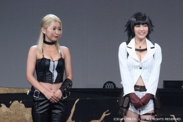 トリッシュ役の階戸瑠季さん(左)とレディ役の柴小聖さん(右)