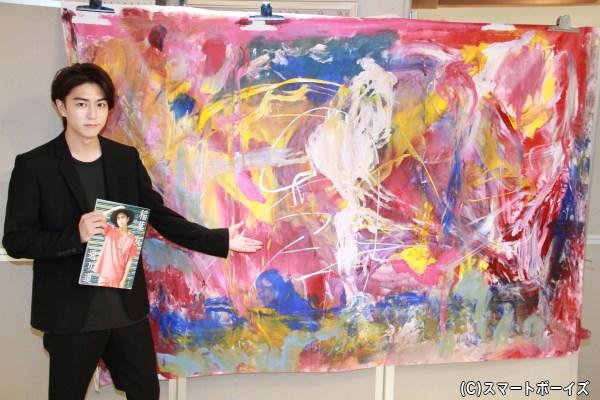 """囲み取材時に命名したタイトル「稲葉友 in 台湾」の抽象画。 わずか1時間足らずで完成したスピードは""""マッハ級""""!"""