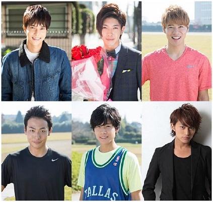 (上段左から)水野勝さん、田村侑久さん、辻本達規さん (下段左から)田中俊介さん、吉原雅斗さん、映画版に出演する小林豊さん