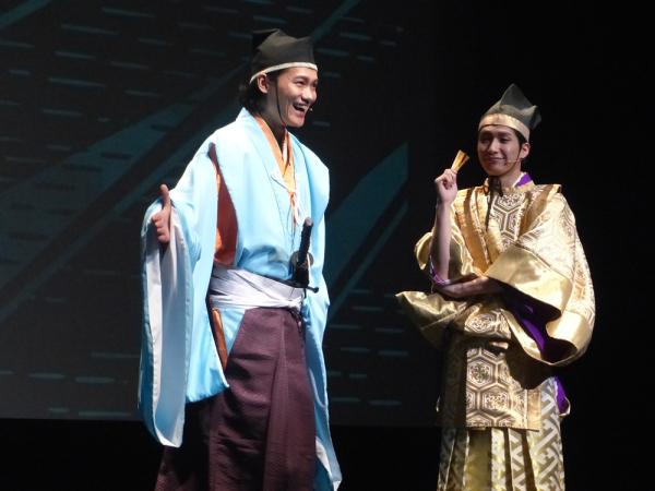 『吉良と浅野~教育的指導~』の浅野内匠頭役の寿里さん(左)と吉良上野介役の井深克彦さん