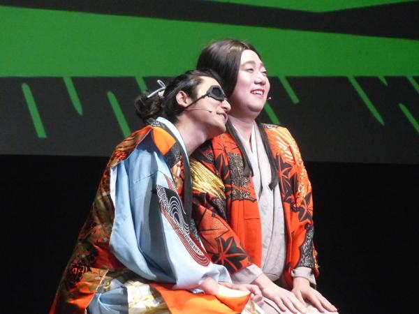 『伊達政宗~母親思い~』の伊達政宗役の山本匠馬さん(左)と母上役の石井智也さん