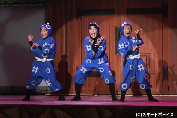 乱太郎(右)、きり丸(中央)、しんべヱ(左)の一年生たちも元気に活躍!