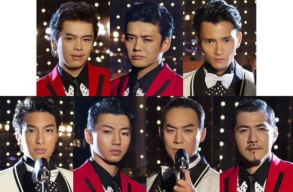(左上より)中川晃教さん、藤岡正明さん、中河内雅貴さん (左下より)海宝直人さん、矢崎広さん、福井晶一さん、吉原光夫さん