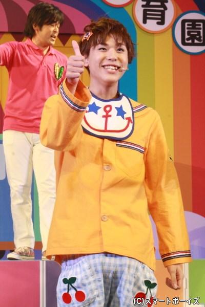 お弁当屋さんの息子、愛之助と兄弟の金次郎(0歳)役の三浦海里さん