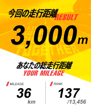ゲームを中断すると、それまでの走行距離がレコードされます。