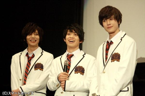 (左から)美少年隊メンバー、佐藤誠役の染谷俊之さん、鈴木大輔役の輝山立さん、田中健一役の蒼山真人さん