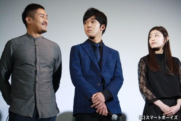 (左から)メンド役の芳野正朝さん、ボボ役の栗原卓也さん、アミ役の大熊杏実さん