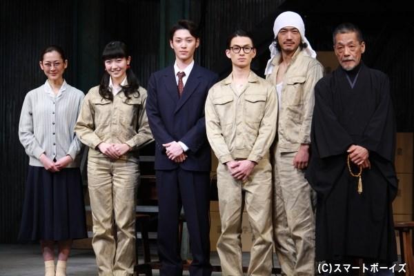 (左から)馬渕英里何さん、前島亜美さん(SUPER☆GiRLS)、安西慎太郎さん、松田凌さん、谷口賢志さん、中嶋しゅうさん