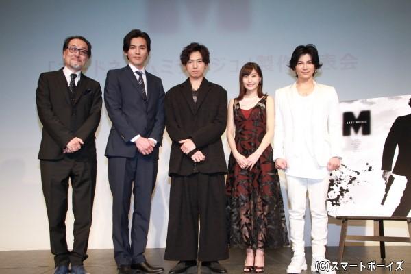 (左より)広井王子さん、要潤さん、桐山漣さん、佐野ひなこさん、武田真治さん