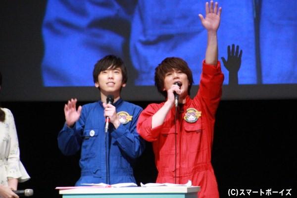 大矢剛康さん(左)と蒼木陣さん(右)は「猫ひた5大ニュース」の司会進行を担当