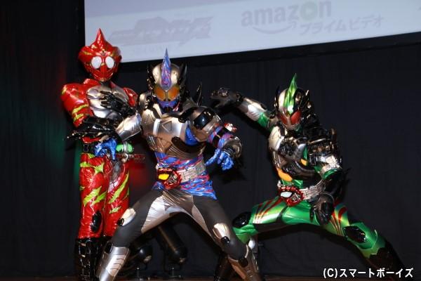 (左より)仮面ライダーアマゾンアルファ、仮面ライダーアマゾンネオ、仮面ライダーアマゾンニューオメガ