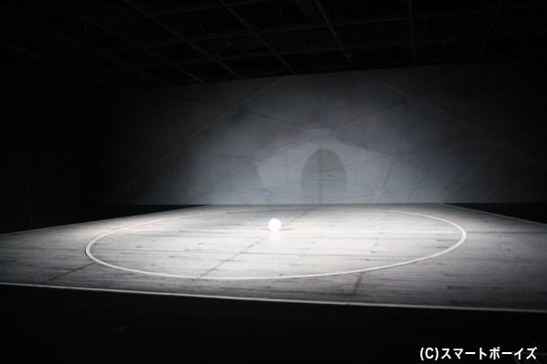 実際に立って歩くことができる、八百屋舞台のセットではマッピング映像上映も!