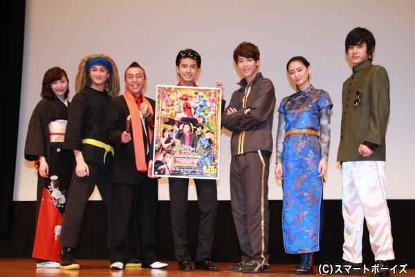 (左より)立石晴香さん、南羽翔平さん、林家たい平さん、中尾暢樹さん、國島直希さん、柳美稀さん、渡邉剣さん