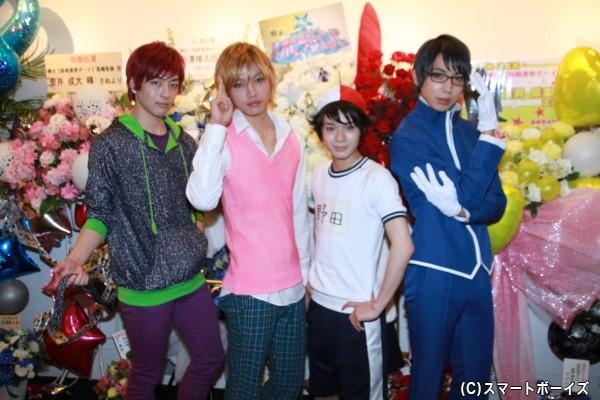 (左より)野尻大介さん、金井成大さん、大平峻也さん、有澤樟太郎さん