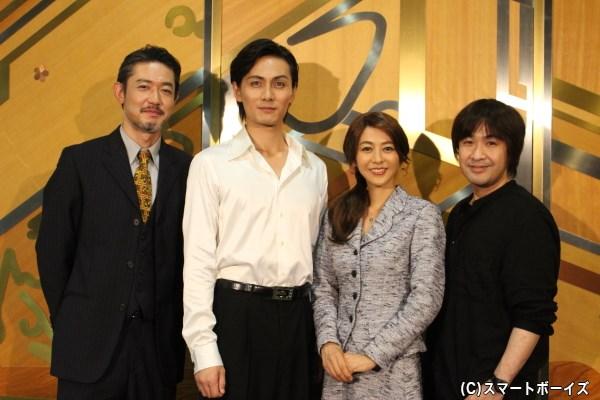 (写真左より)カンタン警部役の筒井道隆さん、ダニエル役の加藤和樹さん、エリザベート役の白石美帆さん、演出:深作健太さん