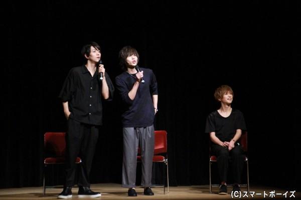 花火大会の即興劇する廣瀬さん&染谷さん、赤澤さんも横でお芝居中(?)