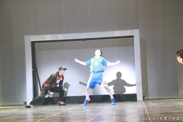 石崎の必殺技「顔面ブロック」。体を張ってゴールを守る!