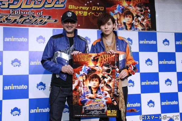 岸洋佑さん(右)と大塚明夫さん(左)