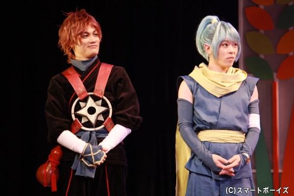(左から)結忍・マグロ役の堀江慎也さん、玉子役の小林瑞紀さん