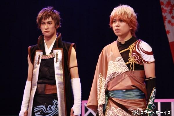 (左から)結忍・おかか役の足立英昭さん、ツナマヨ役の柏木佑介さん