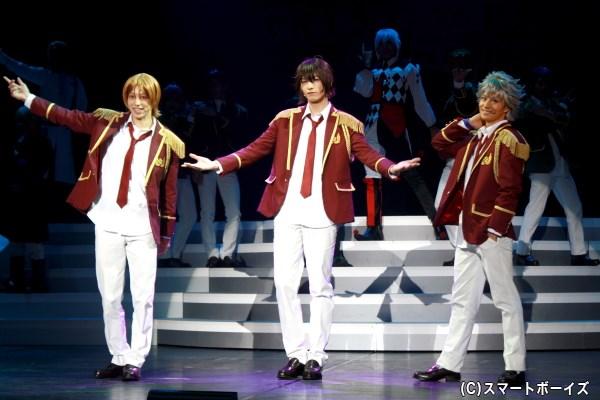 (左から)Over The Rainbowの速水ヒロ(杉江大志さん)、神浜コウジ(小南光司さん)、仁科カヅキ(大見拓土さん)