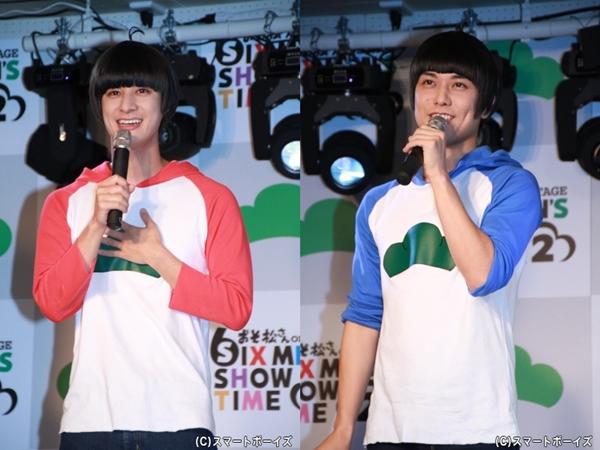 (左)おそ松役の高崎翔太さん (右)カラ松役の柏木佑介さん