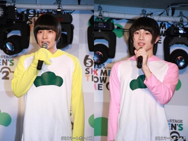(左)十四松役の小澤廉さん (右)トド松役の赤澤遼太郎さん