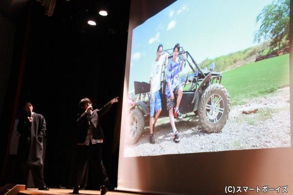 スライドショーによるトークではバギーに挑戦した思い出話などを披露