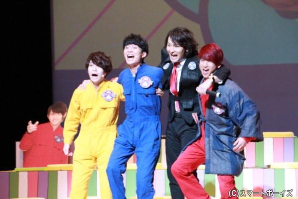 ≪木曜担当≫ (左より)木津つばささん、竹内寿さん、藤田玲さん、青木一馬さん