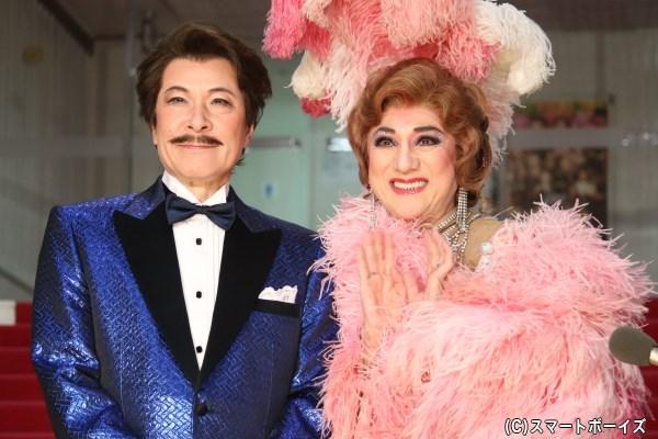 (左から)ジョルジュ役の鹿賀丈史さん、ザザことアルバン役の市村正親さん