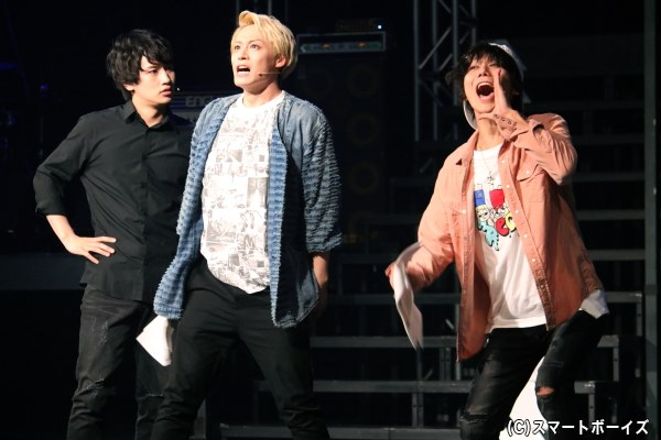 (左から)ダイダラボッチのベース・新田誠(松本岳さん)、ギター・奈良悠介(前山剛久さん)、ドラム・乾慎吾(宮城紘大さん)も、DICとの差に焦り…