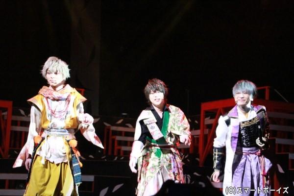 (左より)徳川家康役の杉山真宏さん、豊臣秀吉役の緑川睦さん、石田三成役の天野眞隆さん