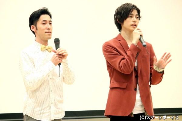 イベントMCを務めた東ともひろさん(写真左)と、高橋健介さん