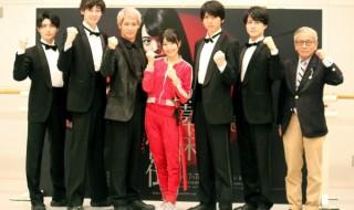 (左から)増子敦貴さん、田中涼星さん、味方良介さん、北原里英さん、小松準弥さん、松村龍之介さん、演出の河毛俊作さん