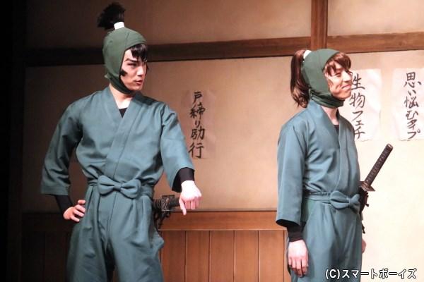 六年生の食満留三郎(左・秋沢健太朗さん)と善法寺伊作(右・反橋宗一郎さん)